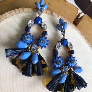 J. Crew Factory Jewelry - 🔥EUC JCrew Navy&TortoiseShell ChandelierEarrings